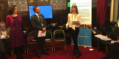 "29.01.2018 EonA gives talk at the ""End Live Exports Parliamentary Reception"" in London"
